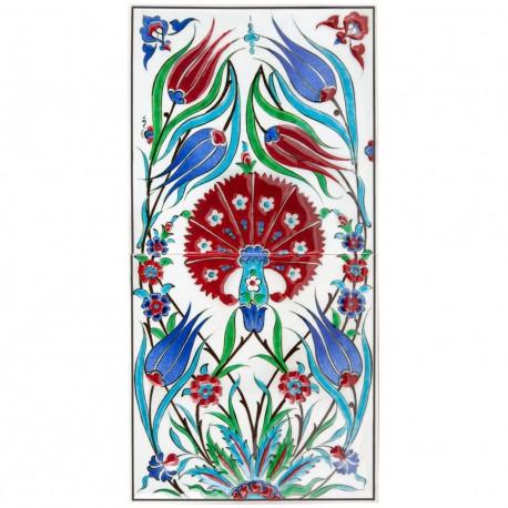 Tableau oriental en faïence décoré de fleur Karanfil 20x40