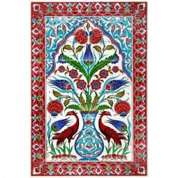 Tableau fleuri en céramique orientale d'Iznik Djidjia 40x60
