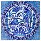 Tableau carré en céramique décoré de fleurs bleues Tria 40x40