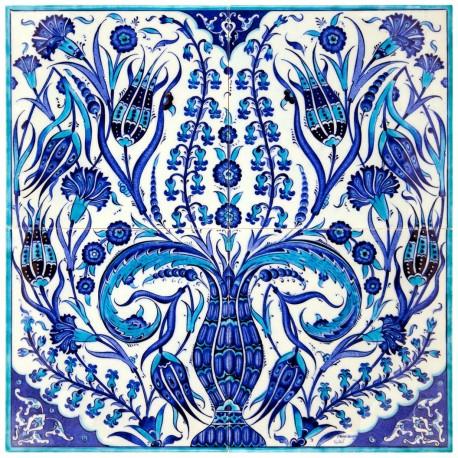 Tableau décoré de fleurs bleues Ounam 40x40