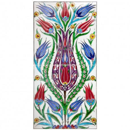 Tableau bohème en céramique fleurie Oudar 20x40