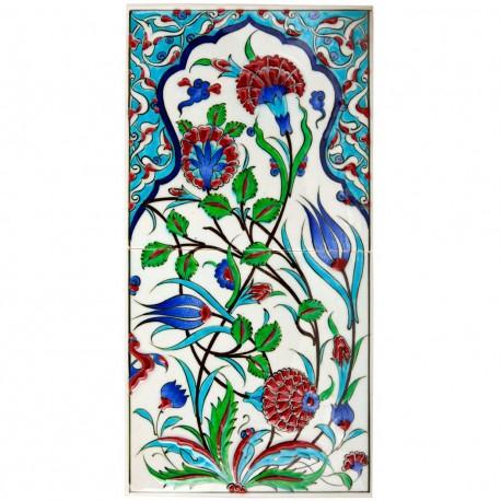 Tableau en faïence bohème décoré de fleurs 20x40
