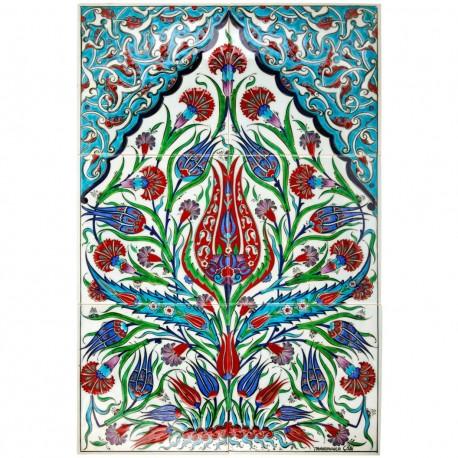 Tableau coloré et fleuri en céramique Oustamia 40x60