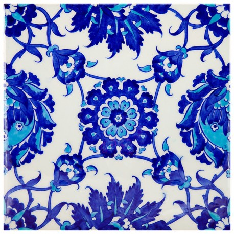 Carreau de faïence bleu et blanc au design artisanal Chatiam