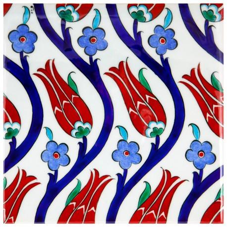 Carreau avec tulipes en faïence d'Iznik Chichek 20x20