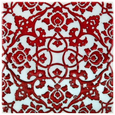 Faïence arabesques rouges Zeneshi 20x20