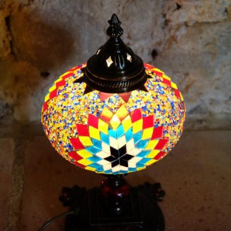 Lampe de chevet décorative Ashnan en mosaïque mulitcolore