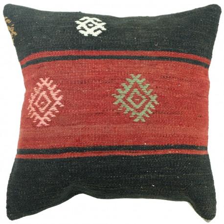 Coussin noir et rouge en kilim artisanal Kolon C098