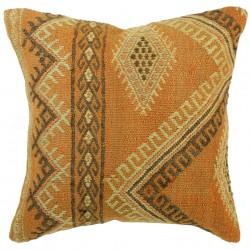 Coussin kilim orange Kolon C029 décoré de motifs ethniques en surpiqure (djidjim)