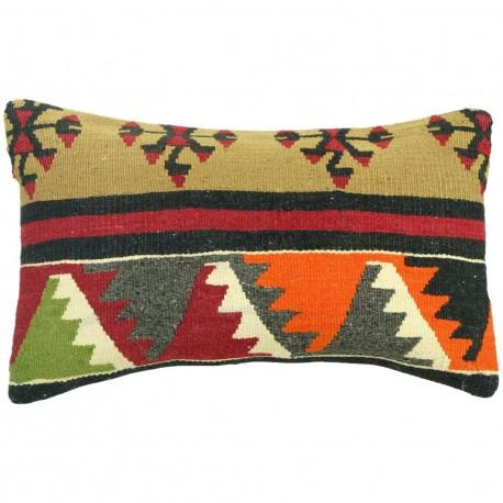 Coussin ethnique en laine kilim Lumbar C030