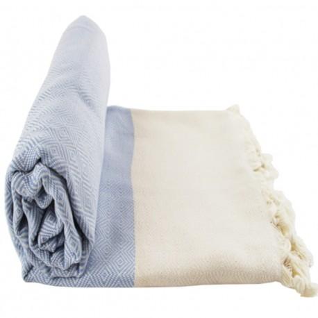 Plaid cocooning bleu ciel en coton Marisys