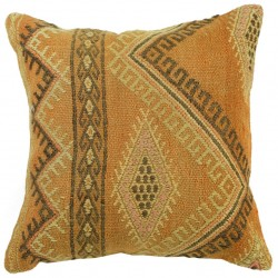 Coussin décoratif orange en kilim oriental Kolon C057