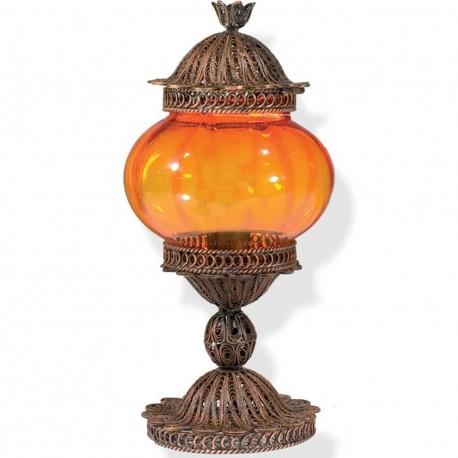 Lampe filigranne de chevet orange Shiri