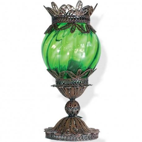 Lampe artisanale verte en filigrane Kasari