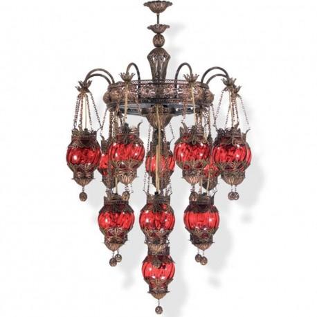 Lustre décoratif artisanal rouge Charavi