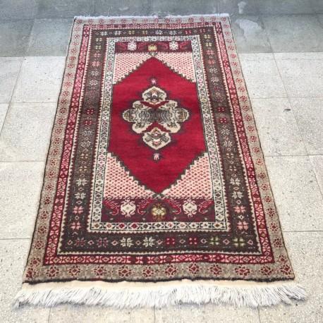 Tapis vintage rouge, tapis turc Oushak A013