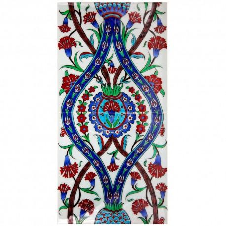 Fresque fleurie en carreaux de faïence ottomane Deneri