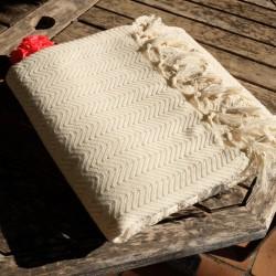 Plaid en coton Safys écru