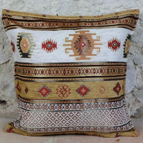 Housse de coussin orientale jaune et blanc Bythinia avec motifs kilim