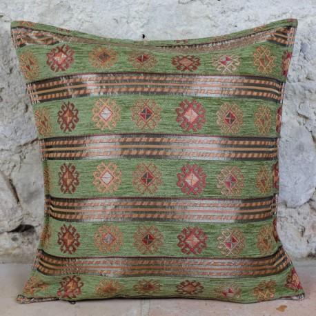 Coussin oriental Thracia vert décoré de motifs ethniques
