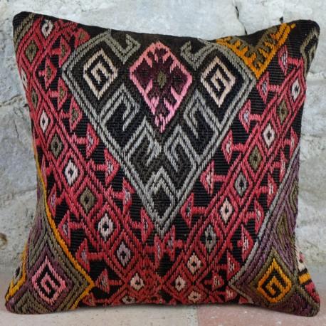 Coussin décoratif en kilim traditionnel d'Anatolie Kolon D050
