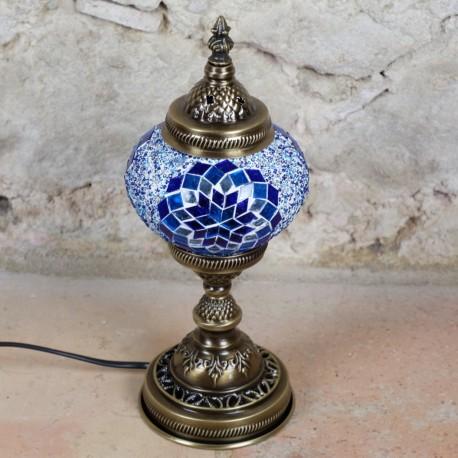 Lampe orientale en mosaïque bleue Isnun