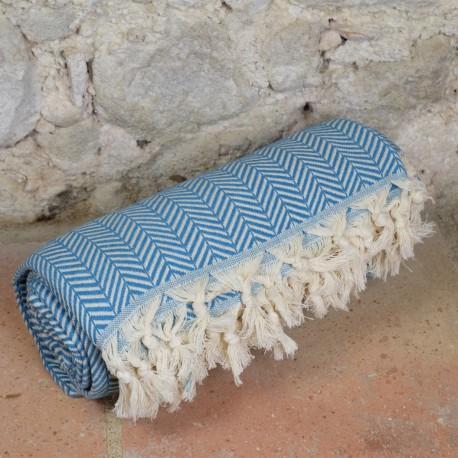 Plaid turquoise ethnique pour canapé Safys