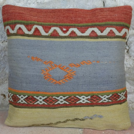 Coussin pastel vintage en kilim Kolon D068, décoration orientale