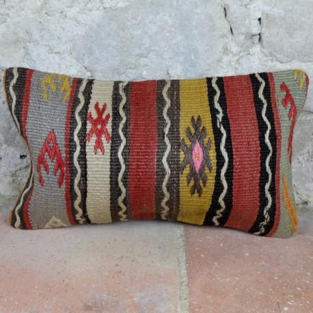 Coussin ethnique coloré en kilim anatolien, Lumbar D059