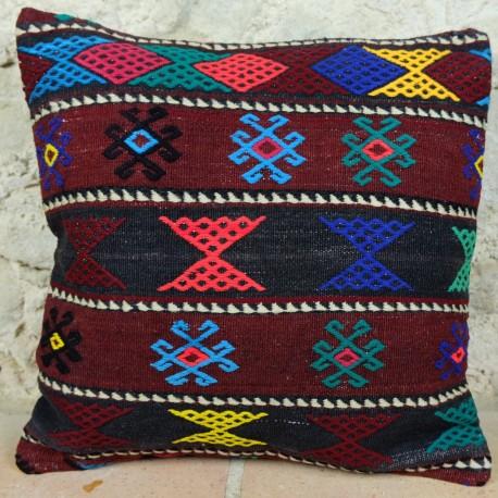 Grand coussin kilim au décor ethnique Ilbar E005
