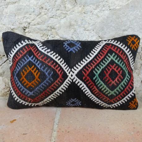 Coussin kilim ethnique traditionnel Lumbar E020