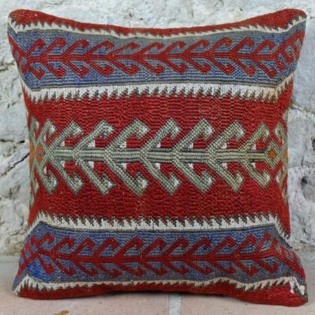 Coussin vintage en kilim Kolon E019, travail artisanal