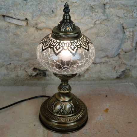 Lampe de chevet orientale Erra en verre craquelé et couleur laiton