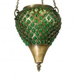 Lampe en laiton et verre soufflé Sinbad vert, style oriental