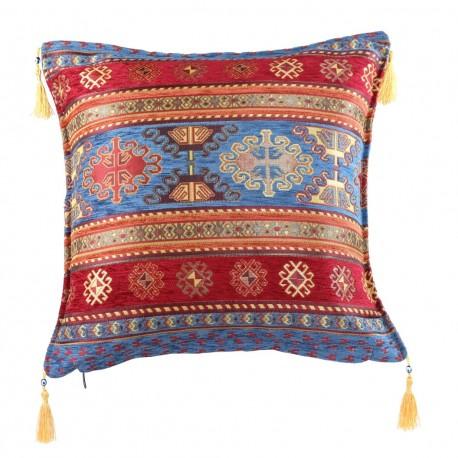 Coussin oriental rouge et bleu Kapadokia, déco cosy
