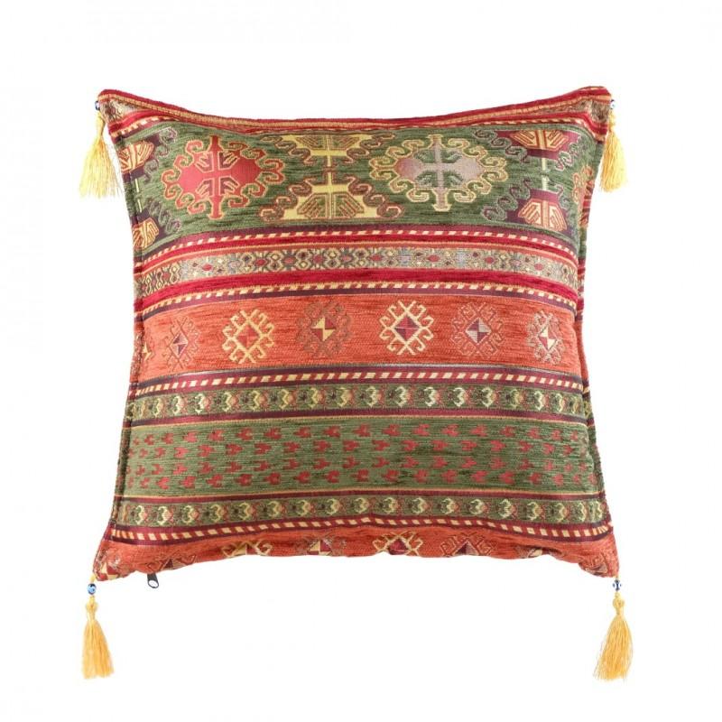 Coussin oriental kapadokia rouge et vert avec motifs ethniques - Housse de coussin style campagne ...