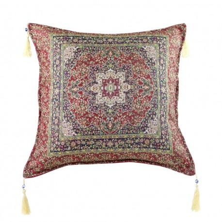 Coussin oriental de salon, style ethnique rouge bordeaux Lycia