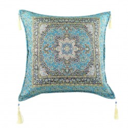 Coussin oriental indien bleu turquoise Lycia
