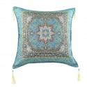 Coussin oriental Lycia bleu turquoise