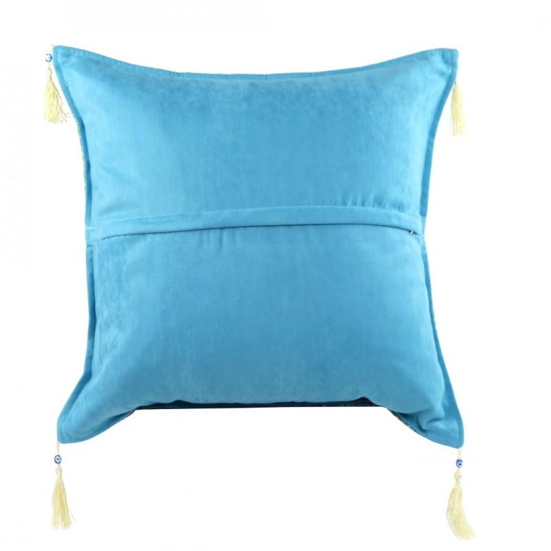 Housse de coussin 50x50 bleu turquoise for Housse coussin bleu