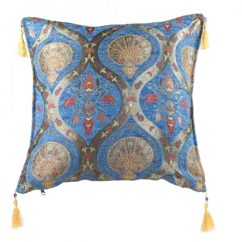 Coussin Oriental Bleu Cilicia, Décor Fleuri
