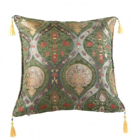 Coussin vert Cilicia décor oriental brillant