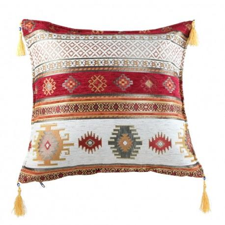 Coussin turc rouge et blanc Bythinia, décoration orientale