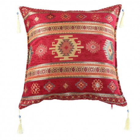 Coussin marocain rouge Bythinia avec motifs kilim