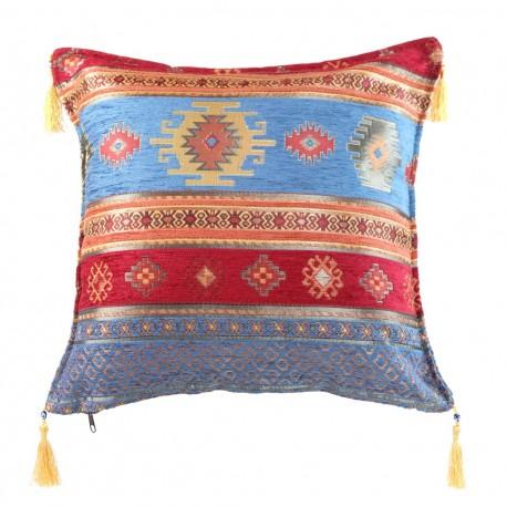 Coussin oriental turc bleu et rouge Bythinia, décoration exotique