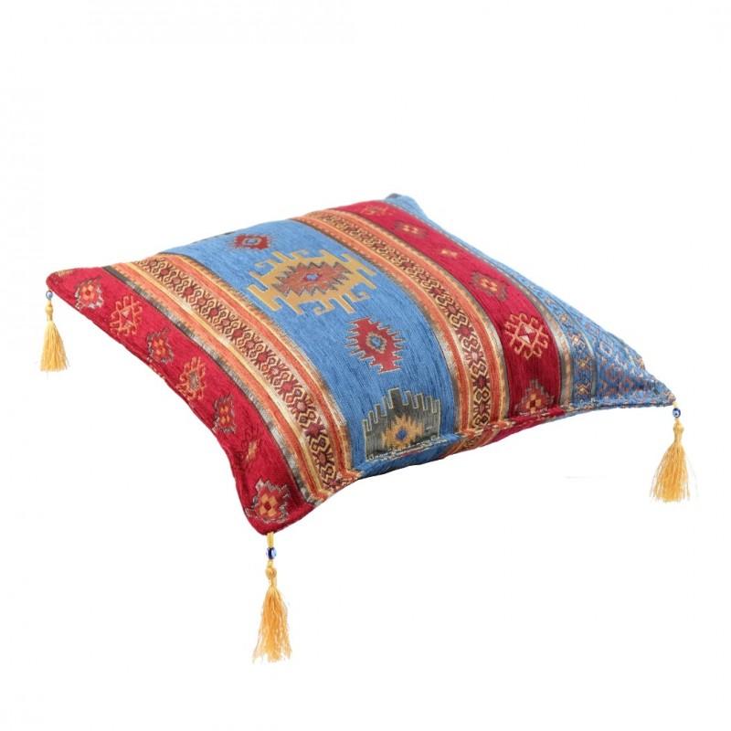 housse de coussin orientale bythinia bleu et rouge. Black Bedroom Furniture Sets. Home Design Ideas