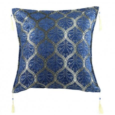 Coussin bleu original Mysia, décoration ethnique