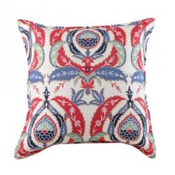 Coussin déco bohème Ulama par KaravaneSerail (motifs ottomans rouge, blanc, bleu)