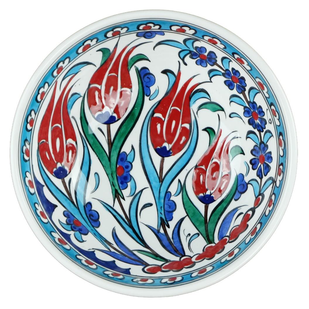 Bol en céramique turque d'Iznik décoré de tulipes par KaravaneSerail