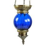 Lampe orientale en verre soufflé bleu et laiton par KaravaneSerail